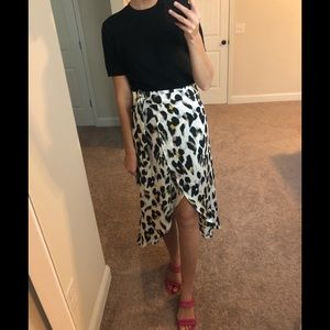 ASOS Cheetah Animal Print Silk Wrap Skirt
